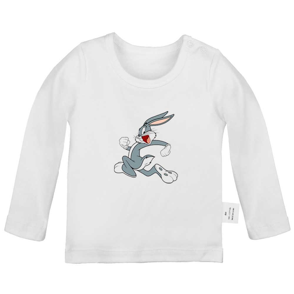 Милые футболки для новорожденных с мультяшным Кроликом, багами, кроликом и черным котом, однотонные футболки с длинными рукавами для малышей