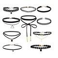4 unids/set-10 pcs/new gothic victorian cristal borla tatuaje choker collar negro lace choker collar de la vendimia de las mujeres joya de la boda