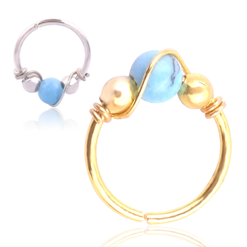 1pc Geometric Type Plating Two Color Ear Bone Nail Male And Female Common Exotic Winding Nose Ring