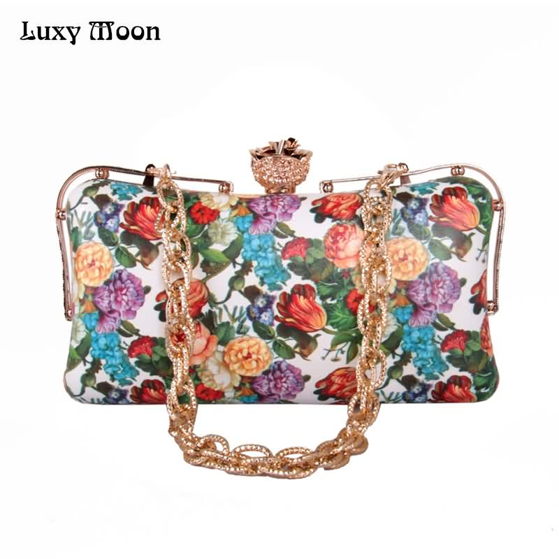 LUXY MOON Evening Bag Floral Printed PU leather Clutch Bag for Women's Purse Handbag Wedding Wallet Rose Diamond Chain Bag ZD693 luxy moon evening clutch bags new pu diamond floral hasp wedding purse tote wrist handbag for women day clutch with chain zd734