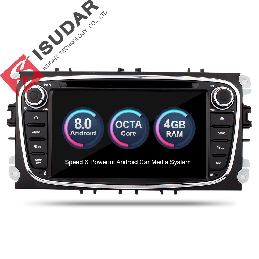 Isudar reproductor Multimedia Android 8,0 Autoradio GPS 2 Din para FORD/Focus/Mondeo S-MAX/C-MAX /Galaxy RAM 4 GB 32 GB Radio DSP