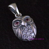 Female Models Pink Diamond Eyes 925 Sterling Silver Owl Pendant