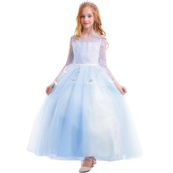 2019 Children Flower Girls Wedding Bridesmaid Dress for Kids Butterfly Trailing Long Dress Princess Party Prom Lace Girls Dress