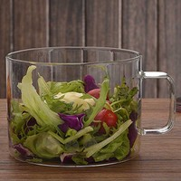 1300ML High capacity Noodles Cup Bowl with Lid Milk Salad Soup Microwave Kitchen High temperature resistance Thick Glass Bowls
