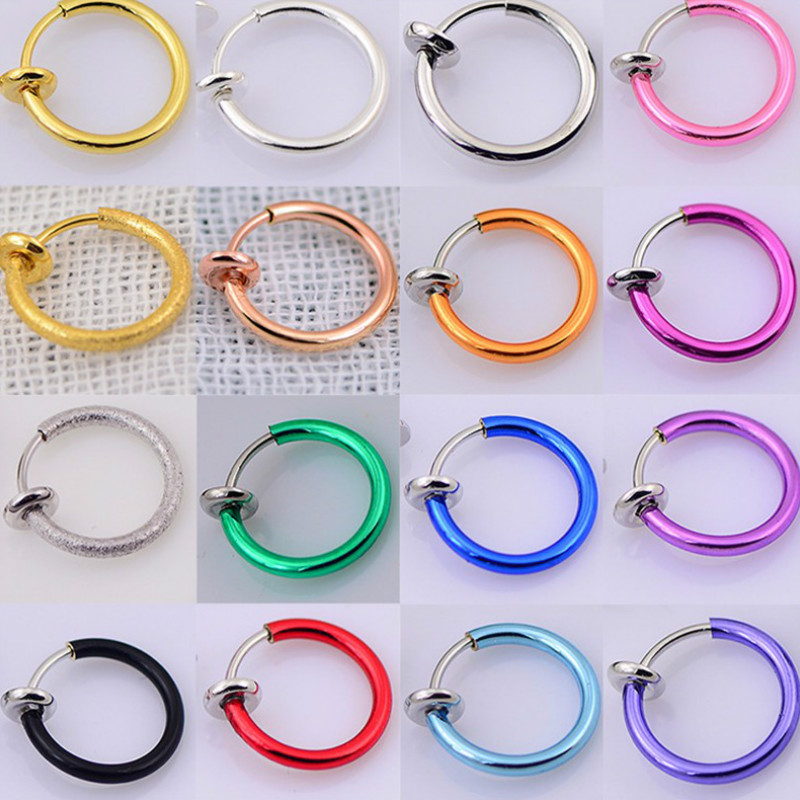 Lip Hoop Earrings Nose-Clip Piercing Goth Sell-Piece Punk on 1pcs