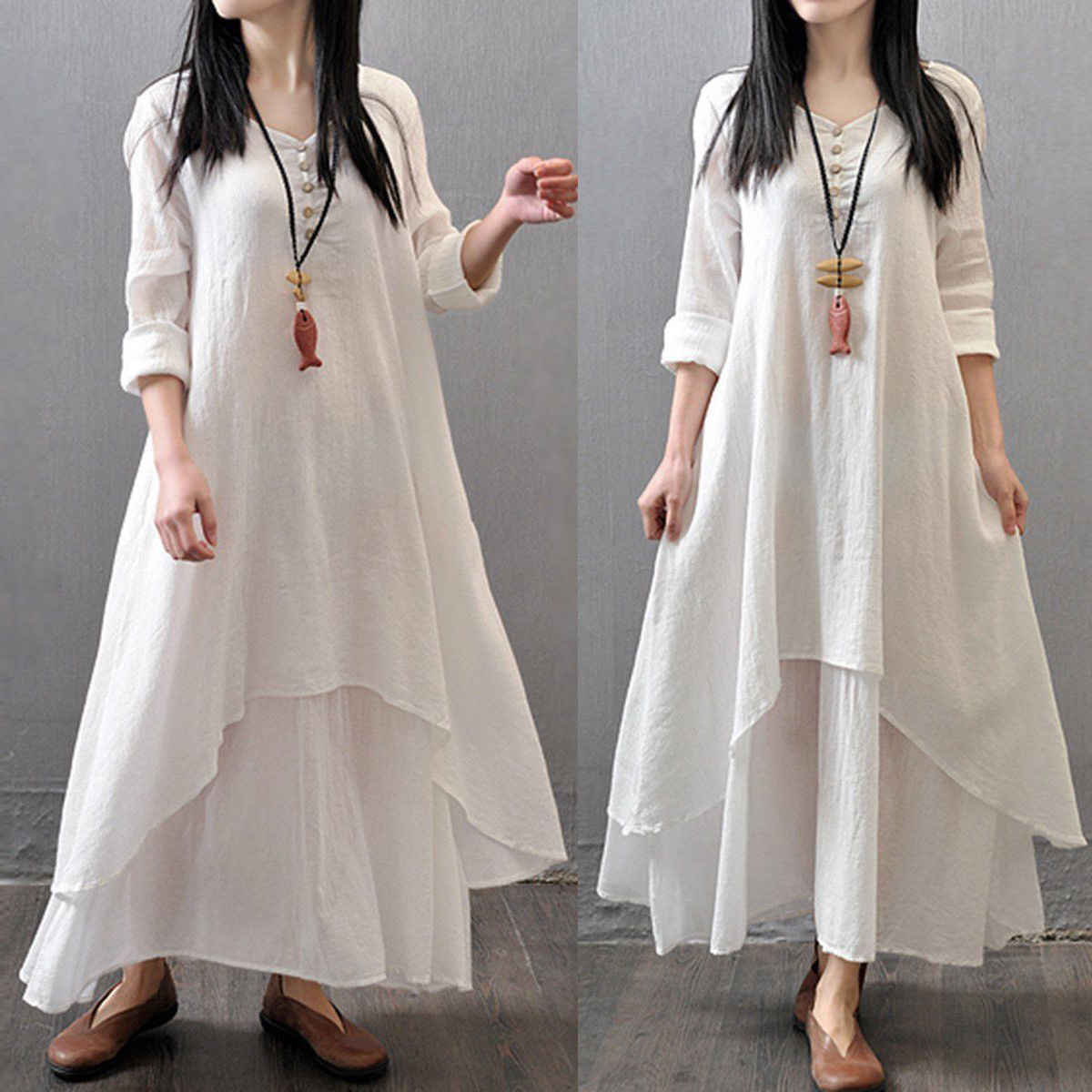 c80493f9c46 ... Spring Summer Women Long Cotton Linen Dress White Plus Size False Two  Pieces O-Neck ...