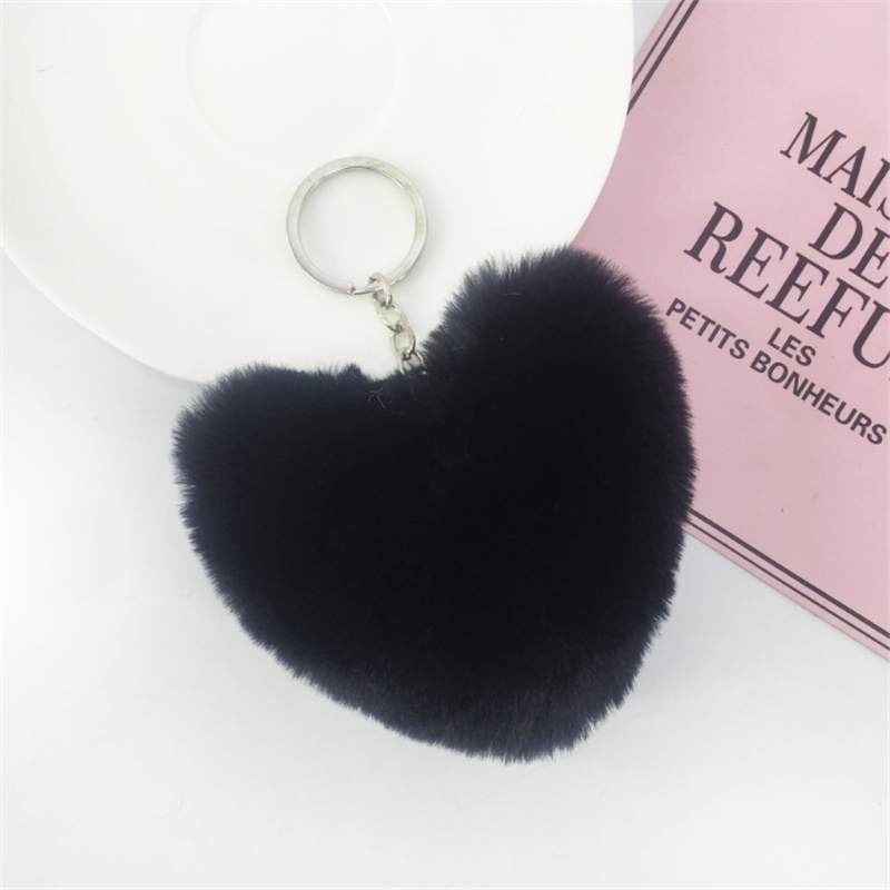 Anel chave do amor pingente de coração de pelúcia faux fur lady bag ornamentos carro anel chave personalizada de fábrica