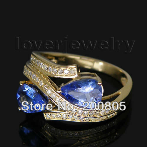 1.67CT Vintage Two Stones Ring,Pear 7x5mm 14Kt Yellow Gold Diamond Tanzanite Ring WU021