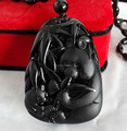 Natural Black Obsidian Carved Cute Panda Boomboo Blessing Pendant Free Necklace Fine Jade Crystal Jewelry Dropshipping