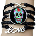 Punk Style Sugar skull bracelet bangles fashion glass dome skeleton infinity love bracelet bangles leather rope chain jewelry