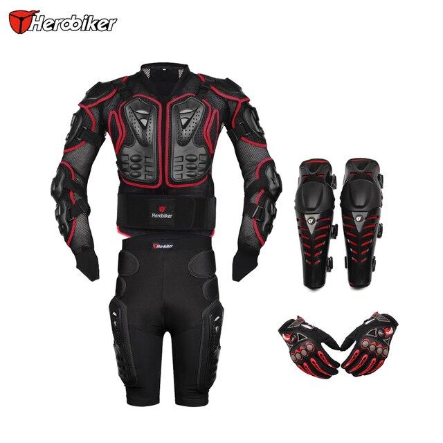 HEROBIKER Red Motorcross Racing Motorcycle Body Armor Protective Jacket+ Gears Short Pants+Protective Motorcycle Knee Pad+Gloves