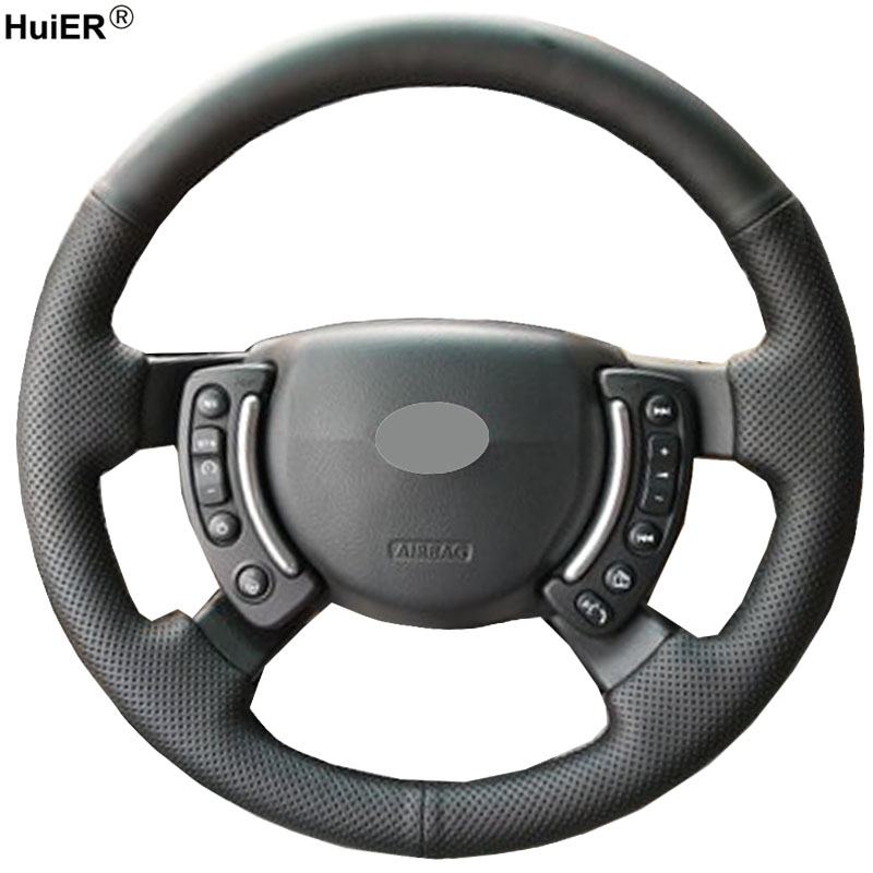 HuiER Hand Sewing Car Steering Wheel Cover Microfiber For Land Rover Range Rover 2005-2009 2010 2011 2012 Non-slip Car Styling