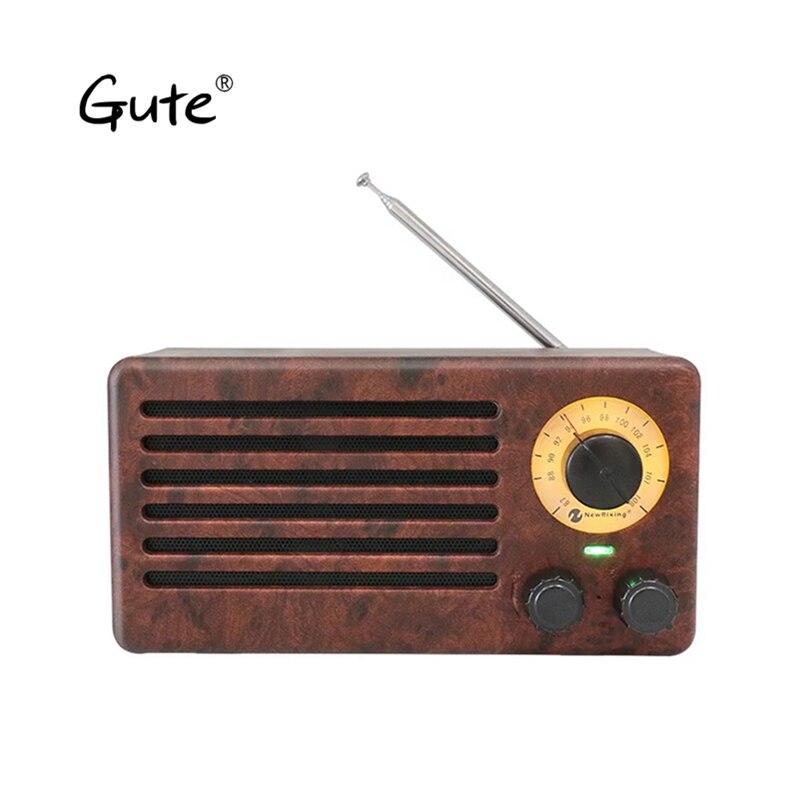 Gute retro wooden BOX speaker altavoz bluetooth subwoofer woofer 10W TF wood square Double Horn portable FM Radio caixa de som