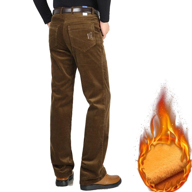 Winter New Men Casual Sweat Pants Brand Velvet Thicken Corduroy Pants Fleece Stretch Slacks High Waist Loose Warm Men's Trousers