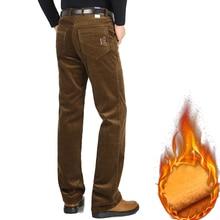 Winter New Men Casual Sweat Pants Brand Velvet Thicken Corduroy Pants Fleece Stretch Slacks High Waist Loose Warm Mens Trousers