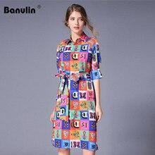 купить Luxury Print Vintage Casual Shirt Dress Women Summer Dress Runway Designer Dresses High Quality Women Fashion 2019 Robe Femme по цене 1457.94 рублей