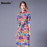 3d696943f Luxury Print Vintage Casual Shirt Dress Women Summer Dress Runway Designer Dresses  High Quality Women Fashion