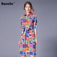 Luxury Print Vintage Casual Shirt Dress Women Summer Dress Runway Designer Dresses High Quality Women Fashion 2019 Robe Femme