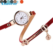 2017 Newly Fashion Bright Designed Relogio Classical Exquisite Feminino Clock Women Faux Leather Metal Strap Watch Hot Gift 321