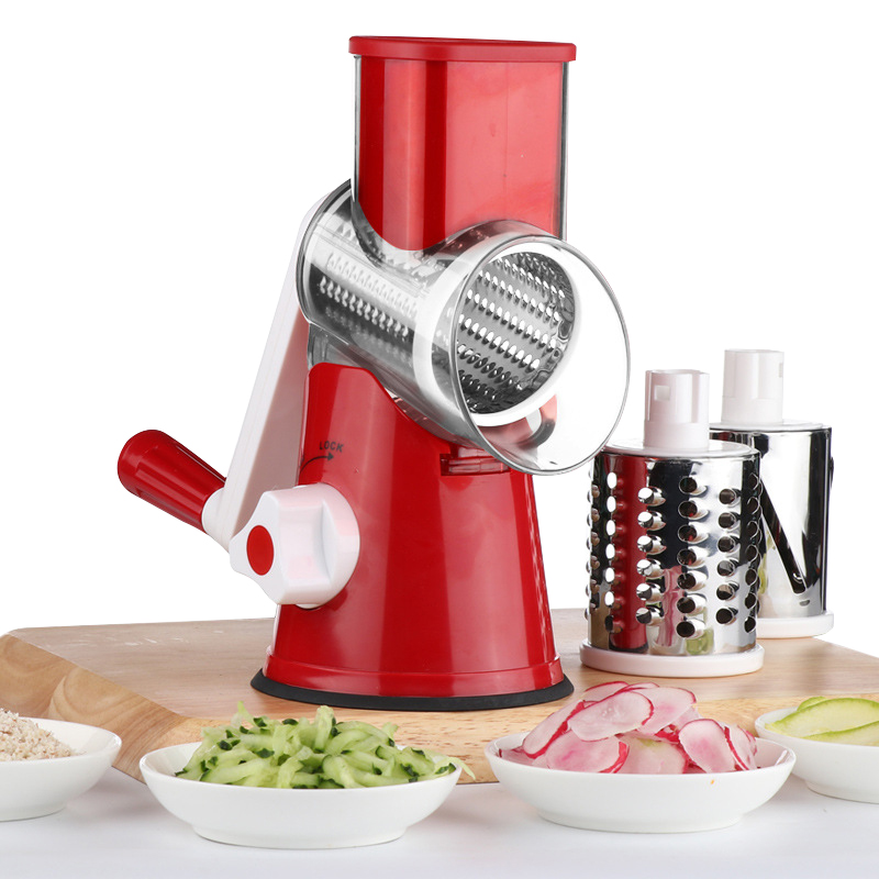 Roller Vegetable Cutter Manual Slicer Potato Carrot Shredder Hand Rotary Multifunction Cheese Grater Round Stainless Steel Blade