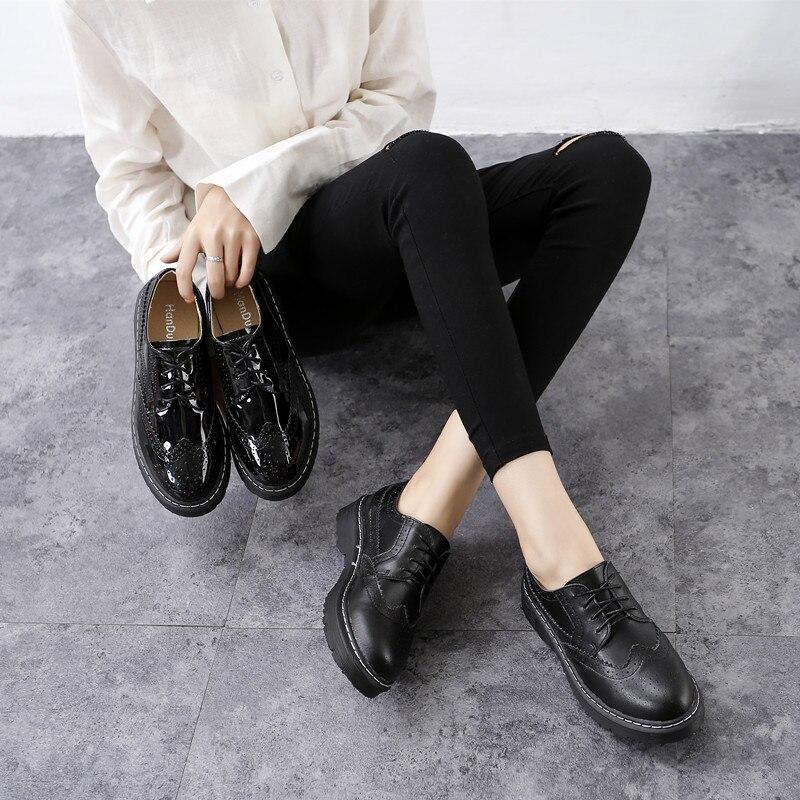 100% Wahr Frühling & Herbst Vintage Frauen Wohnungen Runde Kappe Schuhe Britischen Stil Derby Frauen Patent Leder Schuhe Weibliche Oxfords 34--43