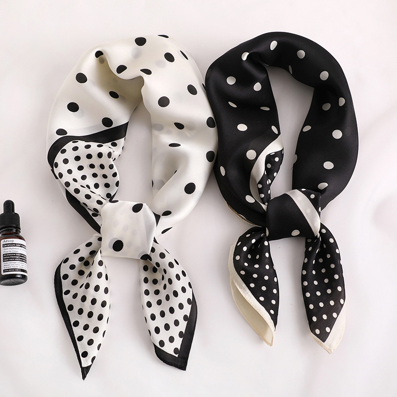 Luxury Brand Silk Scarf Square Women Shawls And Wraps Fashion Dot Print Office Small Hair Neck Hijabs Foulard 2020 Summer New