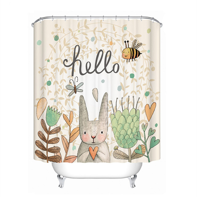 Drop Ship Hello Rabbit Shower Curtain Waterproof Mildewproof Polyester Fabric Bath Bathroom Product With 12