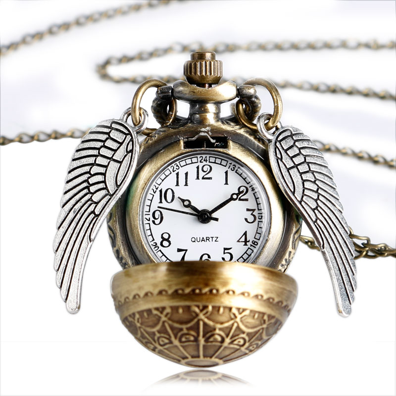 все цены на Vintage Pocket Watch Antique Quartz Modern Retro Web Pattern Ball Shape with Wing Full Hunter Men Chain Women Necklace Pendant