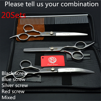 20Sets Suit 7'' Purple Dragon Pets Hair Grooming Scissors Cutting+Thinning Scissors+Down Curved Shea