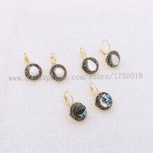 Natürliche perle ohrringe natürliche shell perle ohrringe runde perlen druzy ohrringe großhandel schmuck edelstein schmuck für frauen 1083