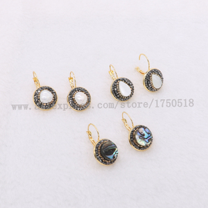 Image 1 - Natural pearl earrings natural shell pearl earrings round beads druzy earrings wholesale  jewelry gem jewelry for women 1083