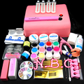 36w UV Lamp UV Gel Nail Kit buffer brush Primer top gel Tool Nail Tips Kit Glue gel Acrylic tipsRhinestones  Nail Art tools Set