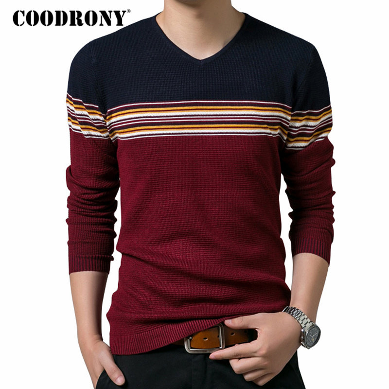 COODRONY Mens Sweaters 2018 Autumn Winter Thick Warm Sweater Men Casual V-neck Pull Homme Knitwear Cotton Wool Pullover Men 8169