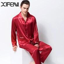 2020 новинка атлас шелк пижамы мужские с длинным рукавом вышивка мужские пижамы комплекты эмуляция шелк одежда для сна отложной воротник из двух частей 3315