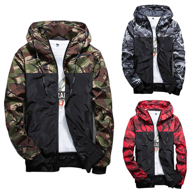 Man Jacket Spring Autumn Korean Style Slim Hooded Jackets Men Polyester 3 Colors Rib Sleeve Casual Jacket for man H7