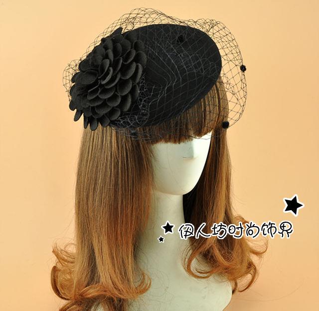 Boinas flor mulheres chapéu com véus do Vintage preto de lã boina chapéu do inverno senhoras por atacado acessórios de cabelo do partido cabelo Decor