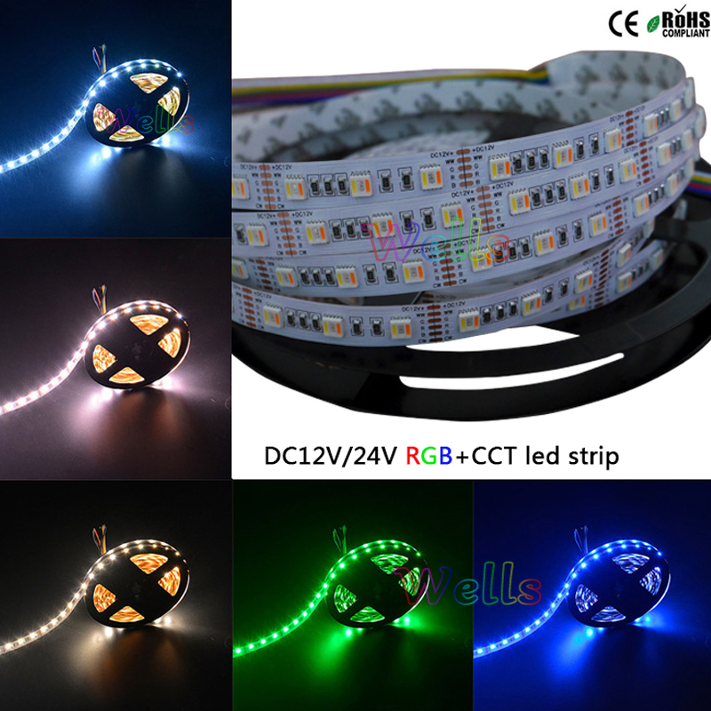 5M DC12V/24V RGBWW 5 color in 1 led chip LED Strip,white PCB SMD 5050 flexible light RGB+cool White&warm white,60Leds/m IP30/67 недорого
