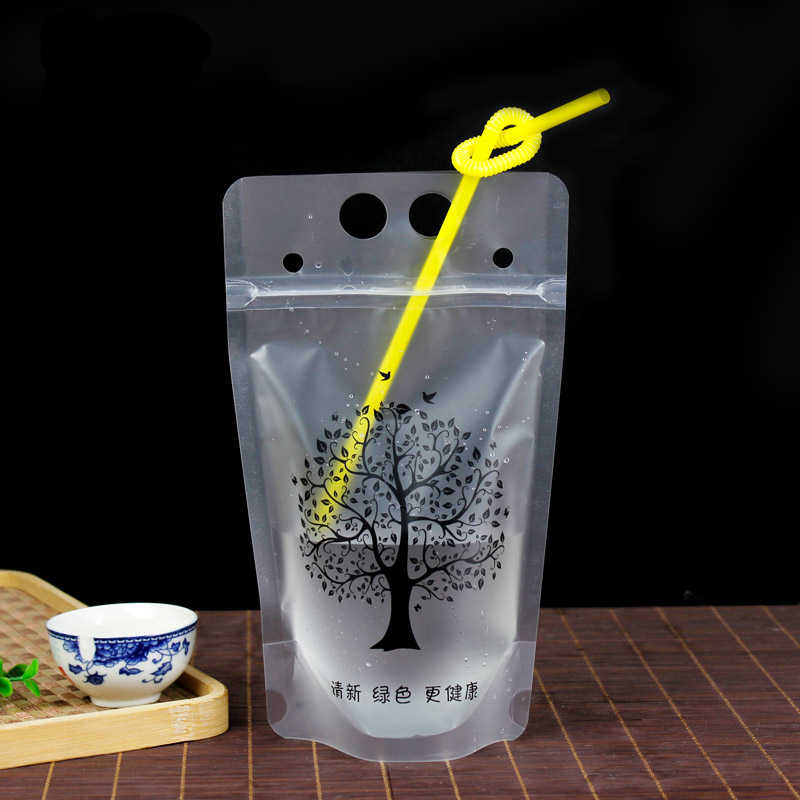 Hot 10pcs Tree Selfsealed Plastic Beverage Bags DIY Drink Container Packages Fruit Juice Storage Bag Disposable party supplies
