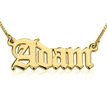 Gothic Old English Name Necklace Customized Jewelry Personalized Letters Wedding Date Pendant Box Chain Women Men Birthday Gifts