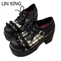 LIN KING Punk Style Women Cute Lattice Lolita Shoes Thick Square Heel Solid Shoes Round Toe Lace-up Buckle Platform Shoes