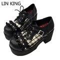LIN REY Punk Style Mujeres Enrejado Lindo Lolita Gruesos Zapatos de Tacón Cuadrado Sólido Zapatos de Punta Redonda con cordones de la Hebilla Zapatos de plataforma