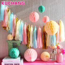5PCS/Bag 14Inch Colorful Tissue Paper Foil Tassel DIY Garland Wedding Party Supplies Birthday Baby Shower Decorations Gift