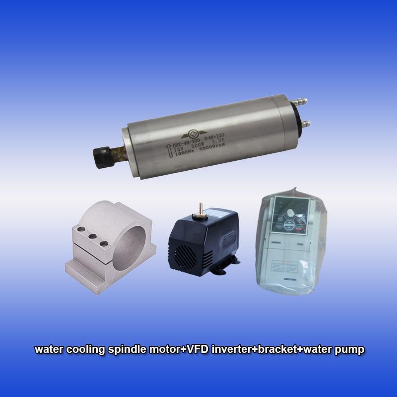 60000rpm 300w 0.3kw ER8 refrigeración por agua Motor de husillo de alta velocidad de precisión y SUNFAR 1.5KW 1phase 220v inversor y soporte y bomba CNC kits