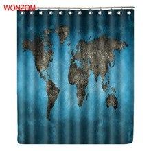 WONZOM World Map Shower Curtain Waterproof Bathroom Modern Bath With 12 Hooks Accessories For Home Decor 2018