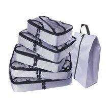 5 圧縮梱包キューブ旅行荷物オーガナイザー/防水/梱包キューブ 女性旅行バッグ手荷物 個/ダブルジップ/メンズ/