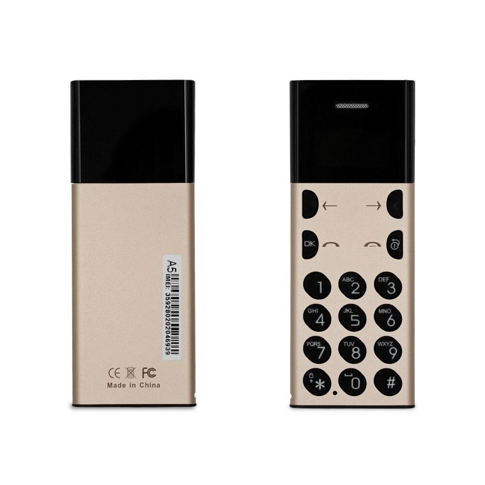 Petit Mobile Téléphone AEKU A5 Ultra Mince 0.96 Pouces petit Écran Bluetooth Dialer celular Téléphone portable