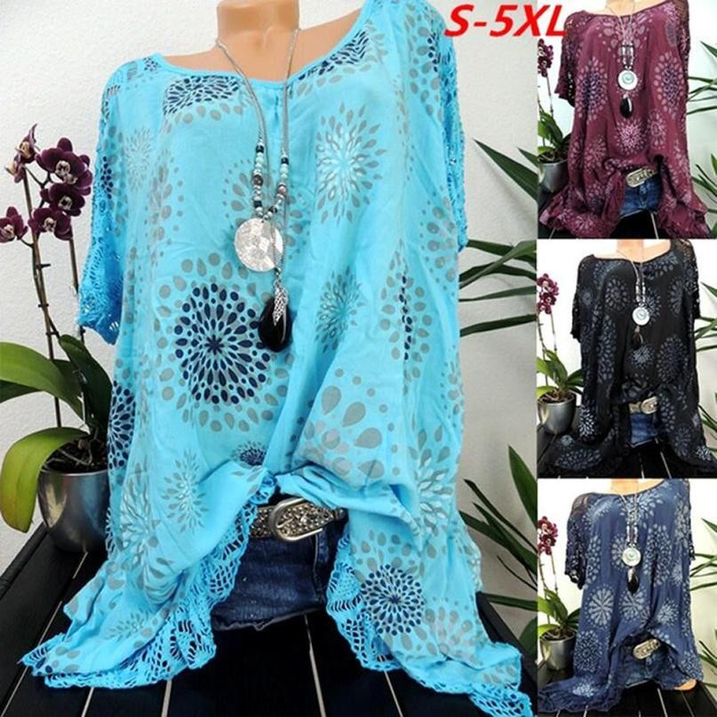 Plus Size S-5XL Tops Summer Lace Women Blouse Patchwork Floral Printed Batwing Short Sleeve Shirt 2018 Tunic Blusas Feminina#ghc 1