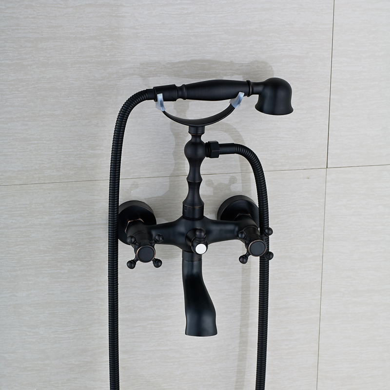 Oil Rubbed Bronze Telephone Style Bathtub Faucet Dual Cross Handles Tub Sink Mixer Taps with Swivel Tub Filler + Hand Shower allen roth brinkley handsome oil rubbed bronze metal toothbrush holder