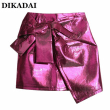 mini skirt Women Solid Sliver Rose Red color Fashion High Waist irregular Skirts With  Bow Tie Casual Sexy Runway Steet Wear