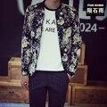 Marca clothing coreano dos homens jaqueta de beisebol do algodão da cópia da flor moda frete grátis